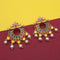 Kriaa Red Meenakari And Pearl Dangler Earrings