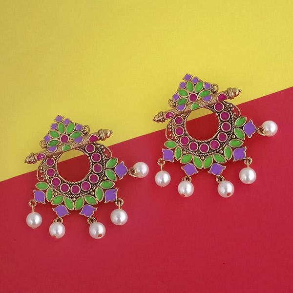 Native Haat Multicolor Meenakari Gold Plated Pearl Dangler Earrings - N1314221J