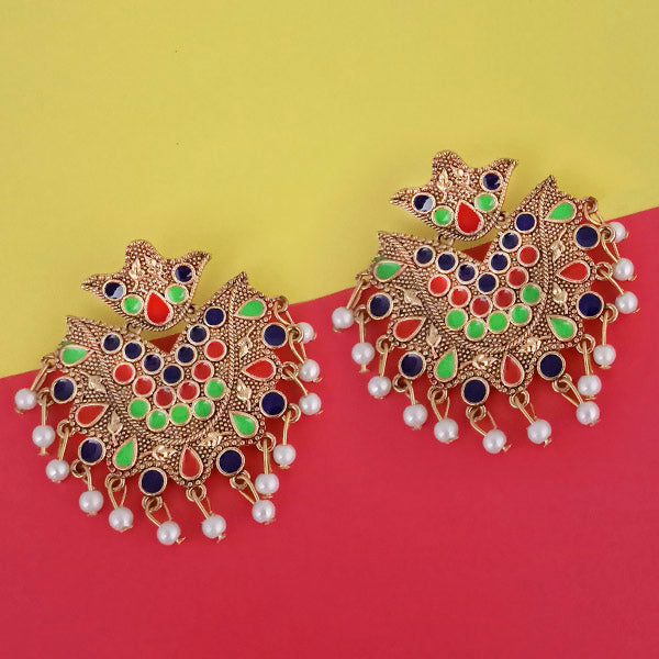 Kriaa Gold Plated Blue Meenakari Earrings