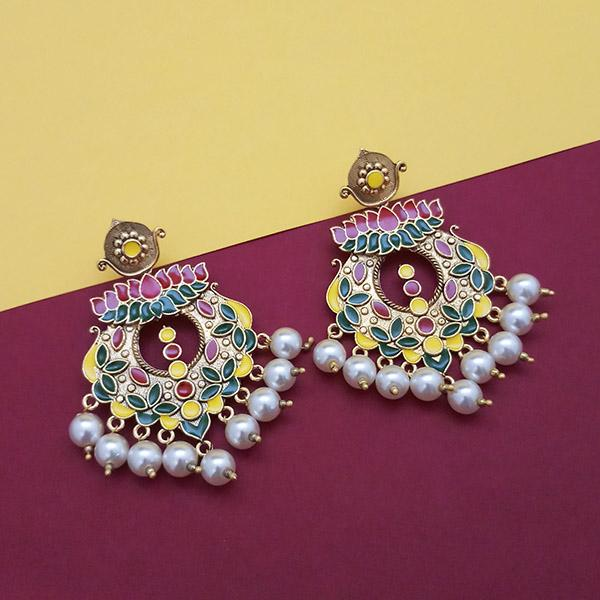 Kriaa Multi Meenakari And Pearl Dangler Earrings