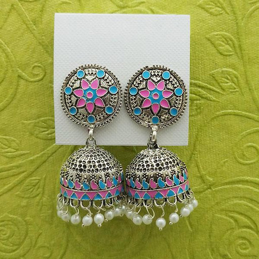 Kriaa Pink And Blue Meenakari And Beads Jhumki Earrings - 1314233E