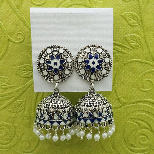 Kriaa White And Blue Meenakari And Beads Jhumki Earrings - 1314233F