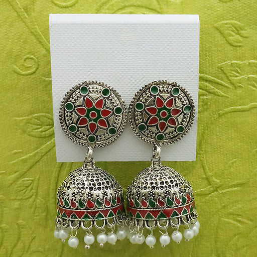 Kriaa Maroon And Green Meenakari And Beads Jhumki Earrings - 1314233G