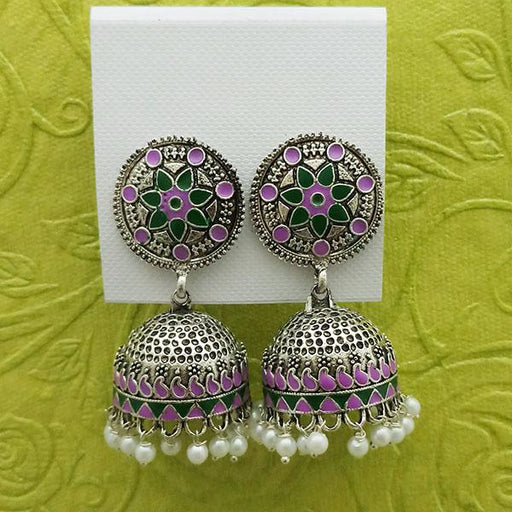 Kriaa Purple And Green Meenakari And Beads Jhumki Earrings - 1314233I