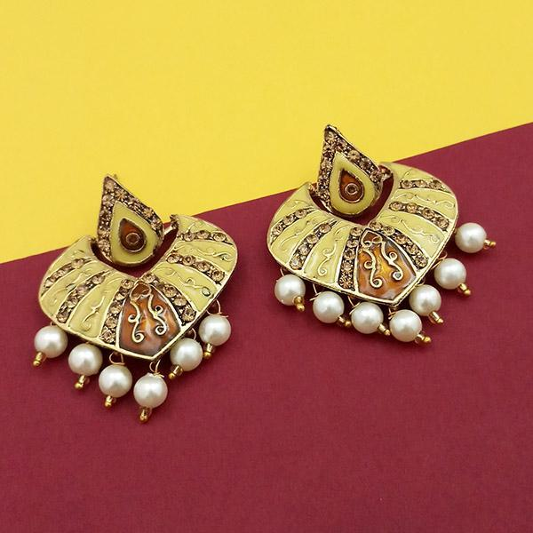 Native Haat Austrian Stone Yellow Meenakari Dangler Earrings - N1314237C