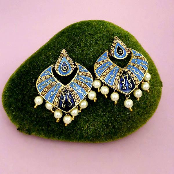 Native Haat Austrian Stone Blue Meenakari Dangler Earrings - N1314237G
