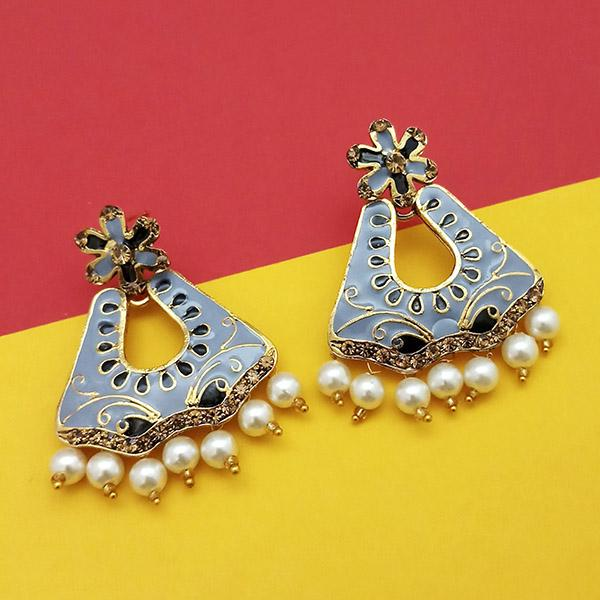 Kriaa Austrian Stone Grey Meenakari Dangler Earrings