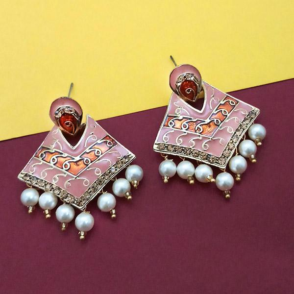 Native Haat Gold Plated Austrian Stone Pink Meenakari Pearl Dangler Earrings - N1314239C