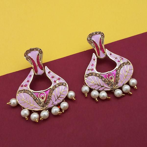 Native Haat Austrian Stone Pink Meenakari Dangler Earrings - N1314242A