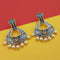 Kriaa Austrian Stone Blue Meenakari Dangler Earrings - N1314242G