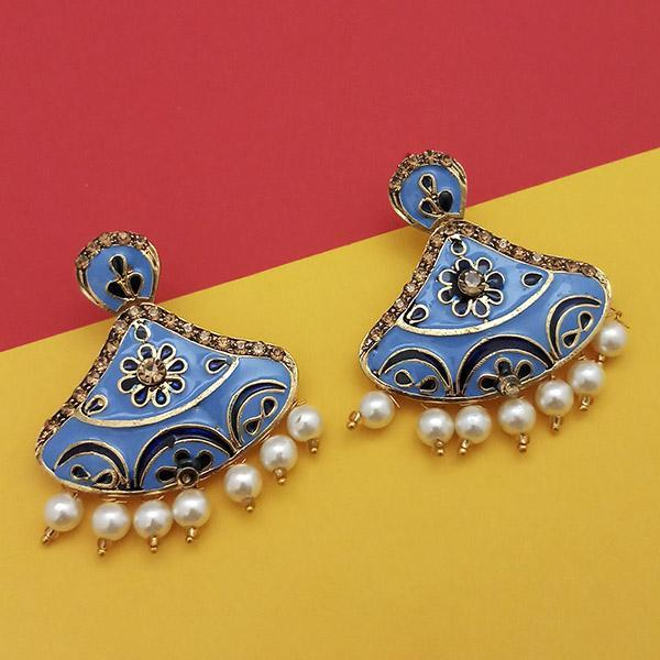 Native Haat Austrian Stone Blue Meenakari Dangler Earrings - N1314243G