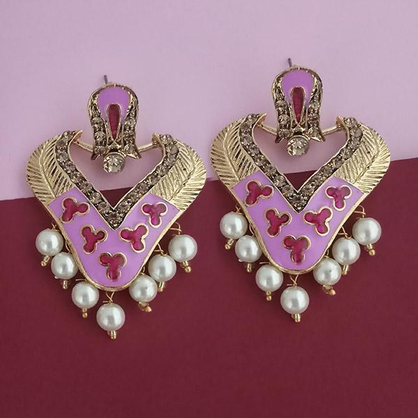 Native Haat Gold Plated Austrian Stone Grey Meenakari Dangler Earrings - N1314245A