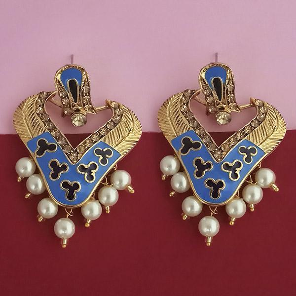 Native Haat Blue Meenakari Austrian Stone Dangler Earrings - N1314245F
