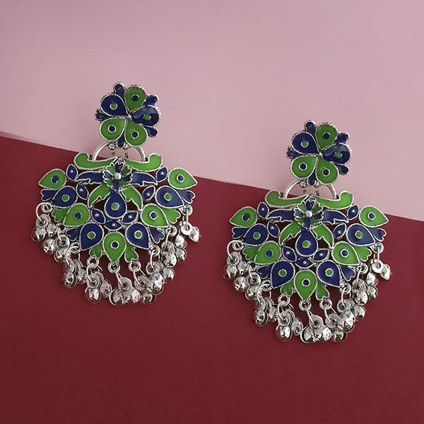 Native Haat Silver Plated Green Meenakari Afghani Earrings - N1314253D