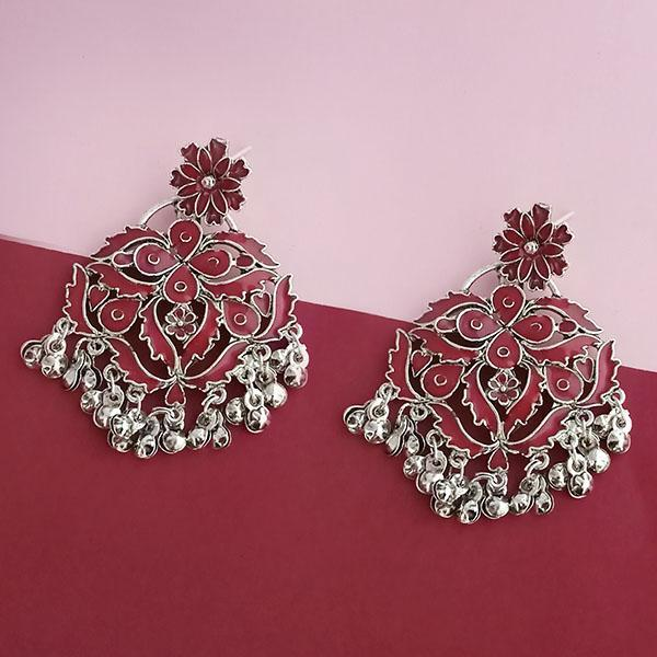 Native Haat Silver Plated Maroon Meenakari Afghani Earrings - N1314254C