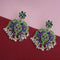 Jeweljunk Silver Plated Green Meenakari Afghani Earrings - N1314254D