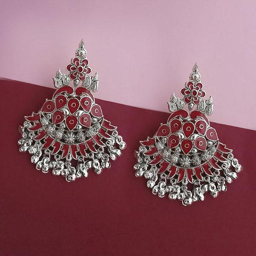 Jeweljunk Silver Plated Maroon Meenakari Afghani Earrings