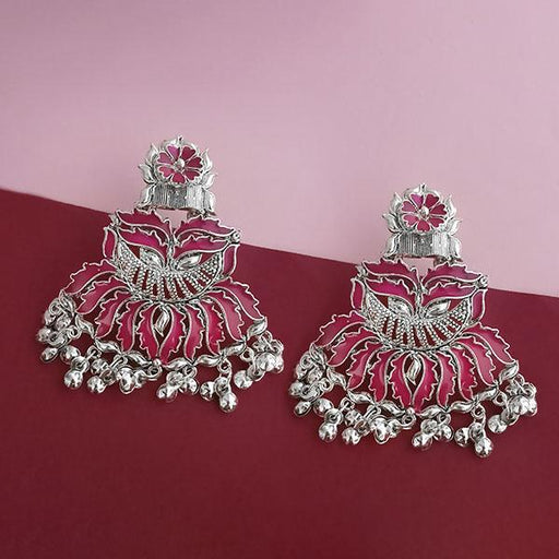 Jeweljunk Silver Plated Pink Meenakari Afghani Earrings