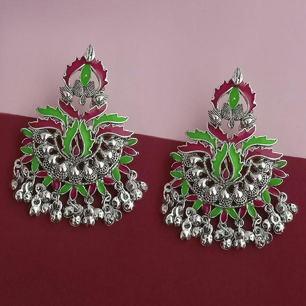 Native Haat Silver Plated Green Meenakari Afghani Earrings - N1314259B