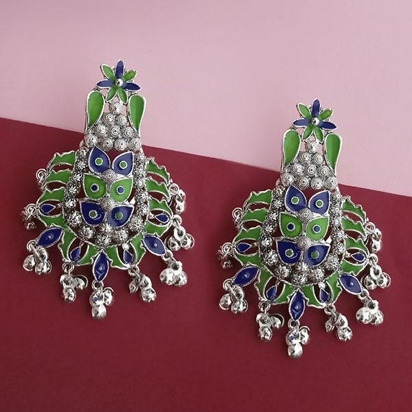 Native Haat Silver Plated Green Meenakari Afghani Earrings - N1314260D