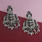 Native HaatSilver Plated Black Meenakari Afghani Earrings - N1314260E