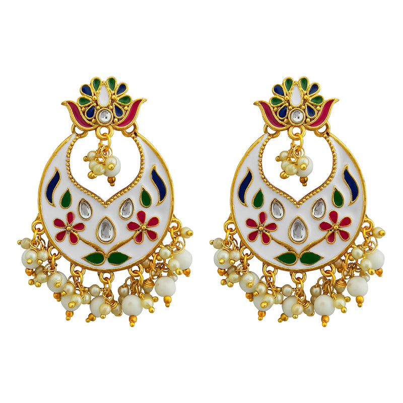 Kriaa Austrian Stone White Meenakari Dangler Earrings