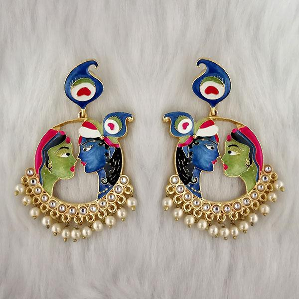 Kriaa Kundan Stone Radha Krishna Meenakari Dangler Earrings - 1314426A