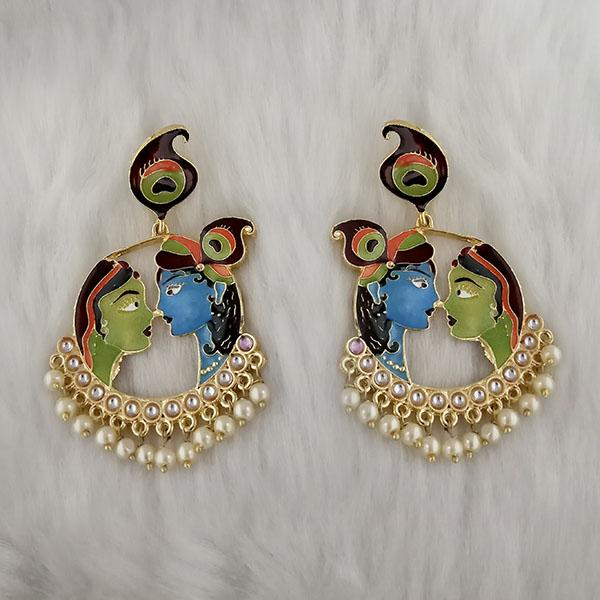 Kriaa Kundan Stone Radha Krishna Meenakari Dangler Earrings - 1314426C