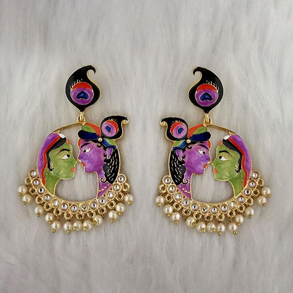 Kriaa Kundan Stone Radha Krishna Meenakari Dangler Earrings - 1314426D