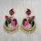 Kriaa Kundan Stone Radha Krishna Meenakari Dangler Earrings - 1314426E