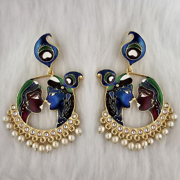 Kriaa Kundan Stone Radha Krishna Meenakari Dangler Earrings - 1314426F