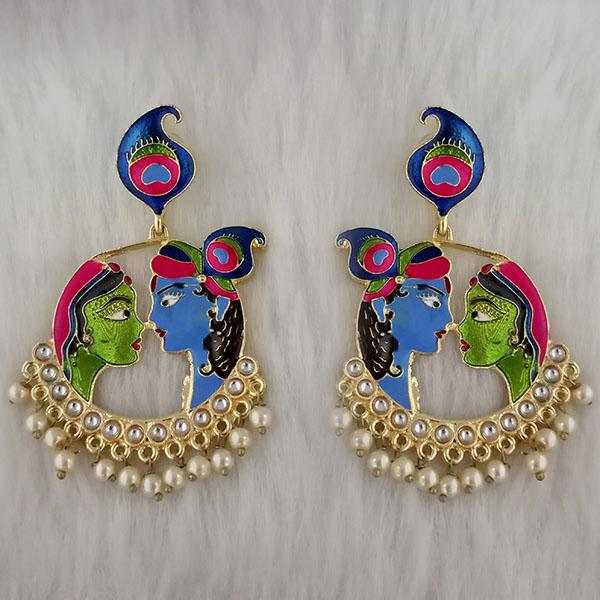 Kriaa Kundan Stone Radha Krishna Meenakari Dangler Earrings - 1314426G
