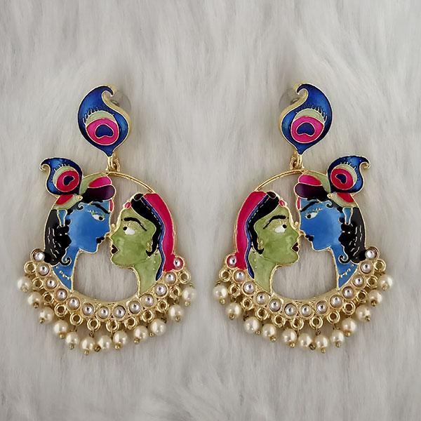Kriaa Kundan Stone Radha Krishna Meenakari Dangler Earrings - 1314426H