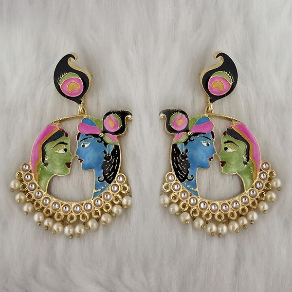 Kriaa Kundan Stone Radha Krishna Meenakari Dangler Earrings - 1314426J