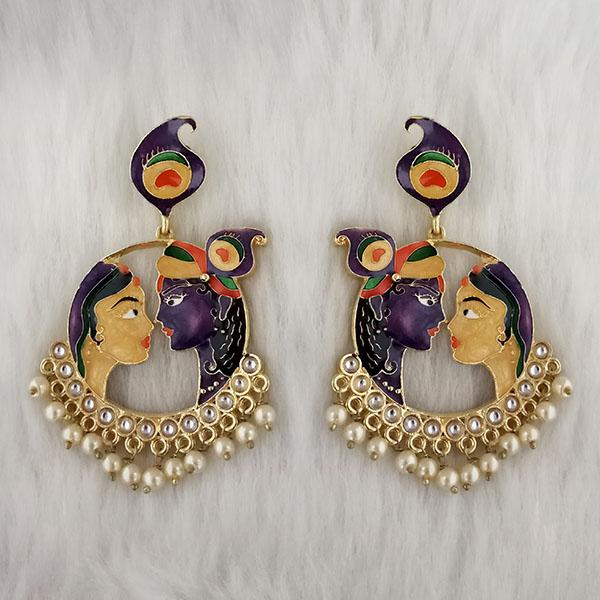 Kriaa Kundan Stone Radha Krishna Meenakari Dangler Earrings - 1314426K