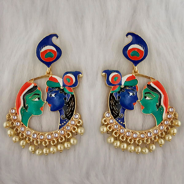 Kriaa Kundan Stone Radha Krishna Meenakari Dangler Earrings - 1314426L