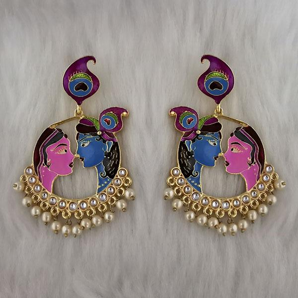 Kriaa Kundan Stone Radha Krishna Meenakari Dangler Earrings - 1314426M
