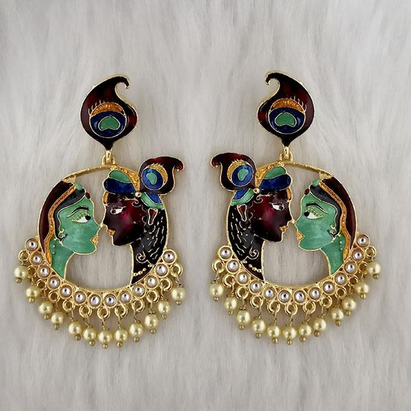 Kriaa Kundan Stone Radha Krishna Meenakari Dangler Earrings - 1314426P