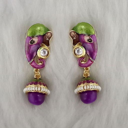 Kriaa Kundan Stone Ganesha Purple Meenakari Dangler Earrings - 1314427A