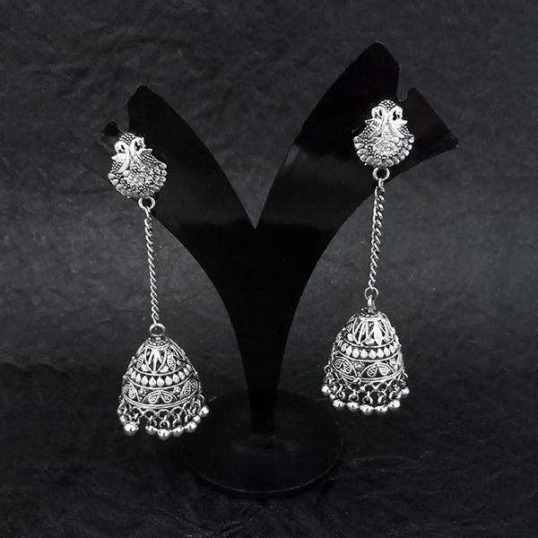 Jeweljunk Oxidised Peacock Chain Jhumki Earrings