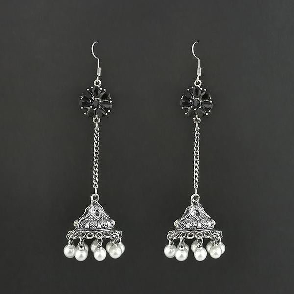 Jewljunk Oxidised Stone Chain Jhumki Earrings