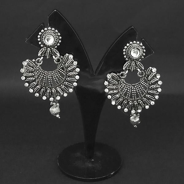 Jewljunk Oxidised Stone Chandbali Earrings