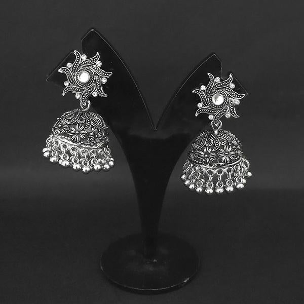 Jewljunk Oxidised Stone Jhumki Earrings