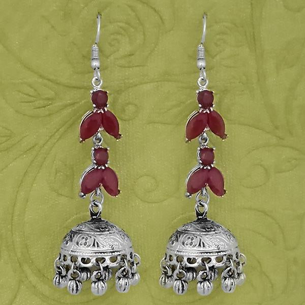 Jeweljunk Silver Plated Maroon Stone Jhumki Earrings