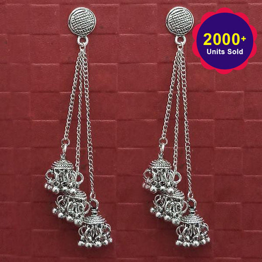Jeweljunk Oxidised Plated Chain Jhumki Earrings