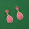 Kriaa Pink  Stone Meenakari Dangler Earrings
