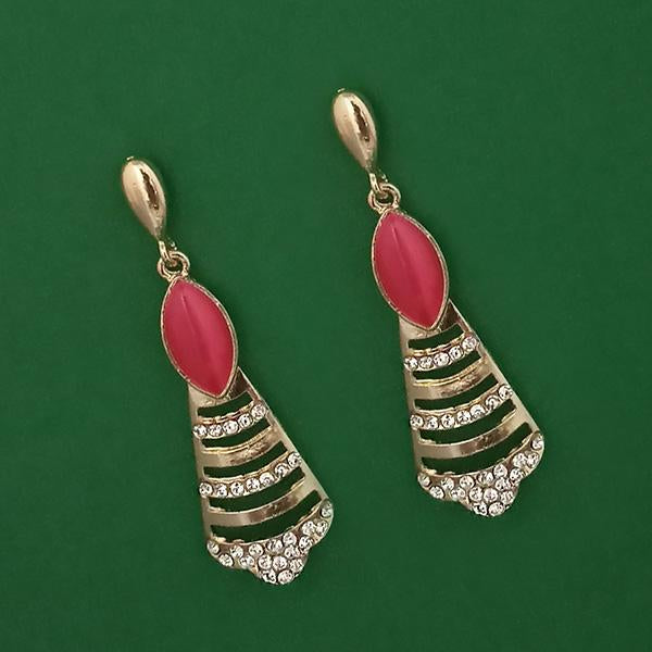 Kriaa Gold Plated Pota Stone And Austrian Stone Enamel Earrings