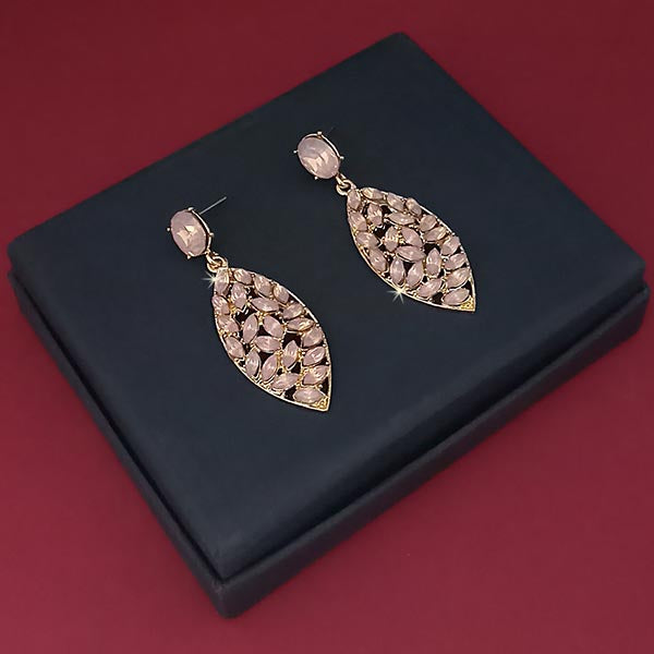 Kriaa Pink Crystal Stone Gold Plated Dangler Earrings