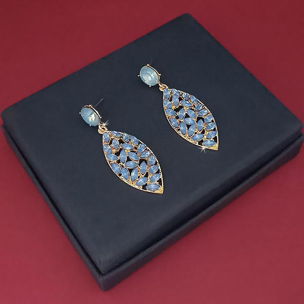 Kriaa Blue Crystal Stone Gold Plated Dangler Earrings