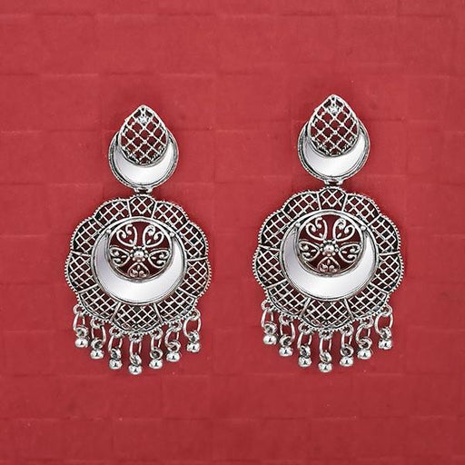 Jeweljunk Silver Plated Mirror Dangler Earrings -1314715